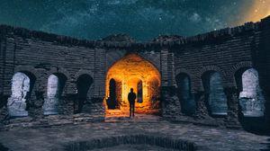 Превью обои руины, силуэт, звездное небо, архитектура