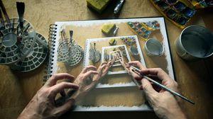 Превью обои руки, рисунок, воображение