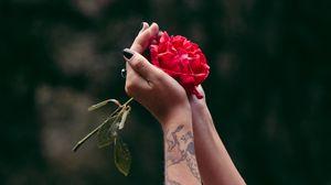 Превью обои руки, роза, татуировки