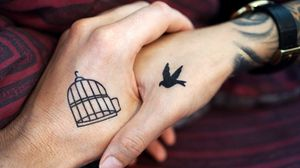Превью обои руки, татуировки, пара, любовь