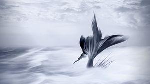 Превью обои русалка, хвост, арт, облака