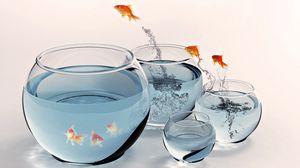 Превью обои рыба, аквариум, золотой, брызги, прыжок