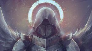 Превью обои рыцарь, ангел, меч, арт