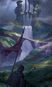 Превью обои рыцарь, воин, холмы, водопад, средневековье, фэнтези, арт