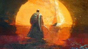 Превью обои рыцарь, воин, щит, арт