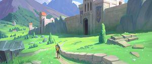 Превью обои рыцарь, воин, замок, средневековье, фэнтези, арт