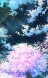 Превью обои сакура, арт, небо, аниме, розовый