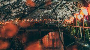 Превью обои сакура, парк, набережная, фонари, мост, река
