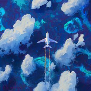 Превью обои самолет, небо, арт, полет, облака