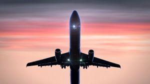 Превью обои самолет, полет, небо, взлет, облака