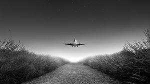 Превью обои самолет, взлет, чб, звездное небо, фотошоп