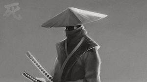 Превью обои самурай, катаны, воин, арт, черно-белый
