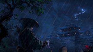 Превью обои самурай, воин, катана, дождь, арт, темный