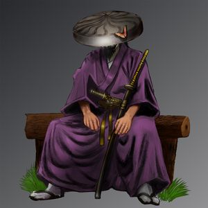 Превью обои самурай, воин, кимоно, катаны, арт
