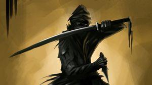 Превью обои ниндзя, воин, меч, кинжал, арт