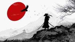 Превью обои самурай, воин, силуэт, арт, черно-белый