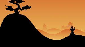 Превью обои самурай, ночь, силуэт