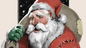 Превью обои санта клаус, дед мороз, новый год, рождество, арт, подарки