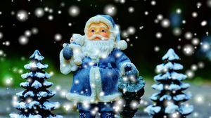 Превью обои санта клаус, елки, новый год, рождество
