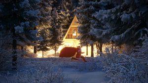 Превью обои санта клаус, новый год, рождество, дом, лес, снег