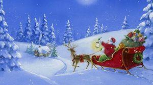 Превью обои санта клаус, олень, сани, подарки, лес, фонарь, дом, ночь, луна