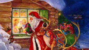 Превью обои санта клаус, олени, окно, дети, подарки, праздник, рождество, птицы