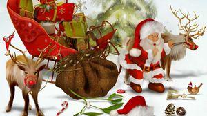 Превью обои санта клаус, олени, подарки, мешок, елка, шишки, птица