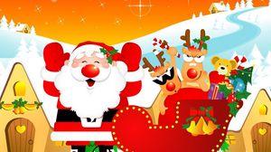 Превью обои санта клаус, олени, сани, подарки, дома, праздник, рождество