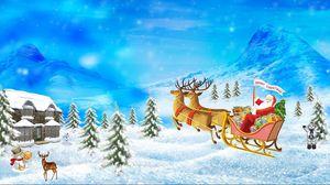 Превью обои санта клаус, олени, сани, подарки, рождество, праздник, дом, горы