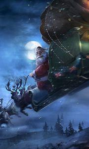 Превью обои санта клаус, олени, сани, полет, подарки, рождество