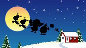 Превью обои санта клаус, рождество, сани, полет, луна, дом, елки