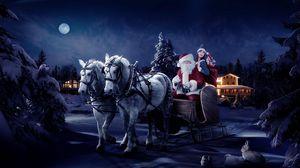 Превью обои санта клаус, сани, девушка, лошади, елки, ночь, рождество, мешок, подарки