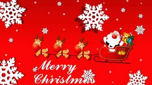 Превью обои санта клаус, сани, подарки, олени, снежинки, город, рождество