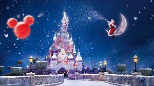 Превью обои санта клаус, волшебство, луна, снег, замок, воздушные шары, праздник, рождество