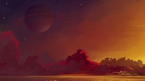 Превью обои сатурн, планета, горизонт, облака, арт