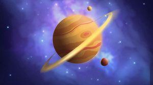 Превью обои сатурн, планета, горы, космос, арт