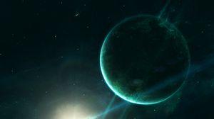 Превью обои сатурн, планета, космос, пространство, свет, зеленый