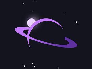 Превью обои сатурн, планета, космос, вектор, арт, фиолетовый