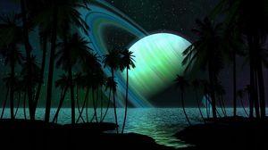 Превью обои сатурн, планета, пальмы, небо, свет