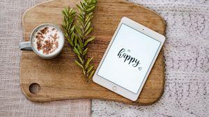Превью обои счастье, надпись, планшет