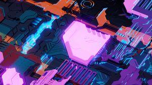 Превью обои sci-fi, микросхема, структура, детали, подсветка