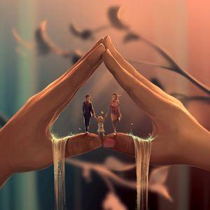 Превью обои семья, родители, ребенок, счастье, любовь, нежность, романтика, арт