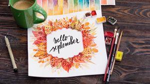 Превью обои сентябрь, леттеринг, краски, надпись, текст