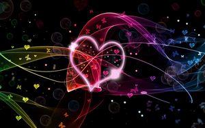 Превью обои сердце, круги, бабочки, разноцветный