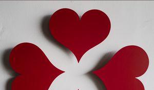 Превью обои сердечки, бумага, красный, белый