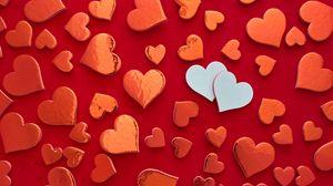 Превью обои сердечки, любовь, красный, белый