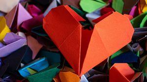 Превью обои сердечки, оригами, бумага, разноцветный
