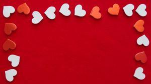 Превью обои сердечки, рамка, любовь, красный