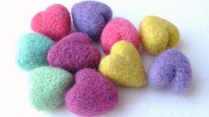 Превью обои сердечки, разноцветный, форма, клубки, нить