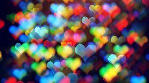 Превью обои сердечки, разноцветный, боке, абстракция